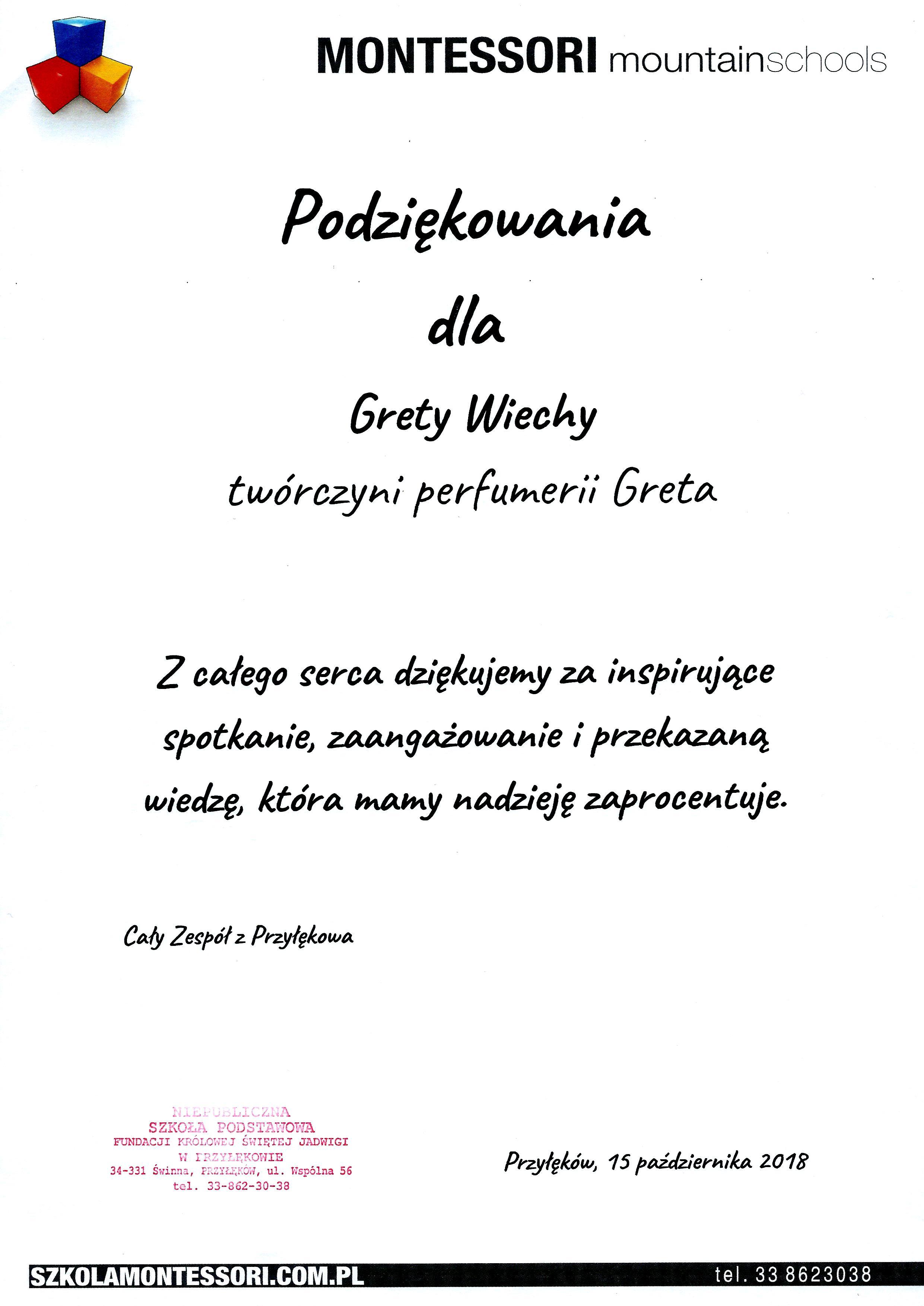 Perfumeria Greta_PODZIĘKOWANIA za spotkanie od MMS